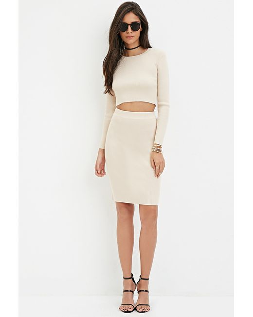 Forever 21 | Natural Ribbed Knit Pencil Skirt You've Been Added To The Waitlist | Lyst