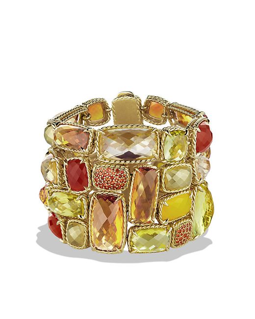 David Yurman | Yellow Chatelaine Five-row Bracelet With Lemon Citrine, Champagne Citrine, And Orange Sapphire In 18k Gold | Lyst