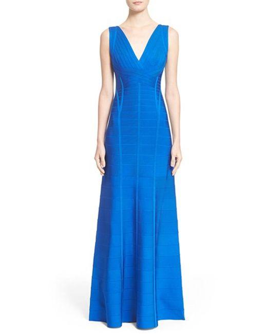 Hervé Léger   Blue 'annabelle' Bandage Gown   Lyst
