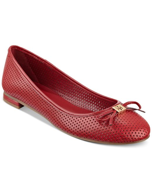tommy hilfiger mirella perforated ballet flats in red lyst. Black Bedroom Furniture Sets. Home Design Ideas