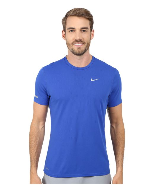 Nike | Blue Dri-fit™ Contour S/s Running Shirt for Men | Lyst