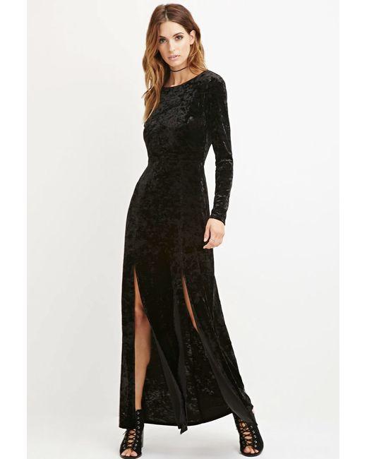 Forever 21 | Black Contemporary Crushed Velvet Maxi Dress | Lyst