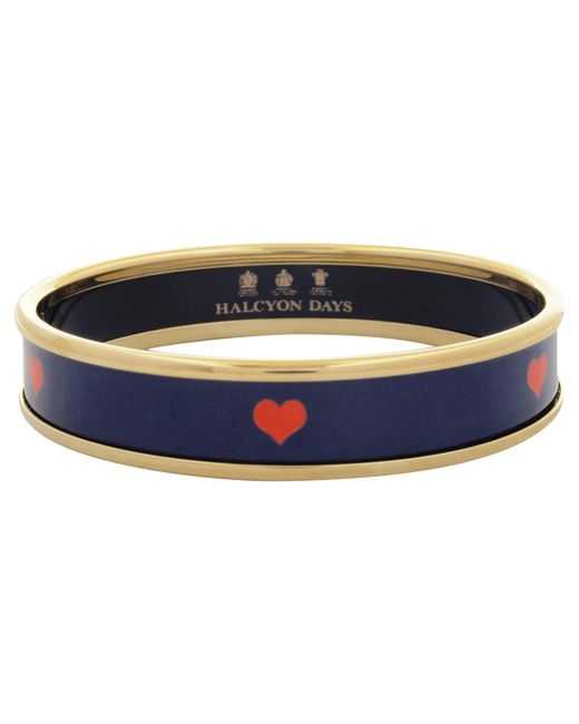 Halcyon Days | Blue 18ct Gold Plated Red Heart Enamel Bangle | Lyst
