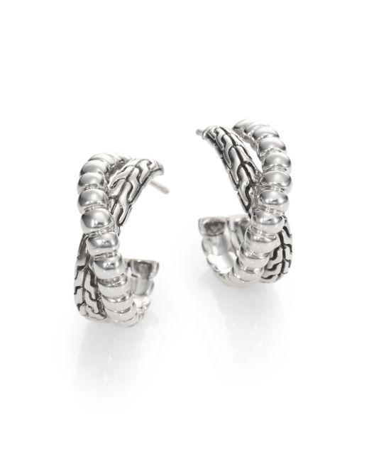 John Hardy | Metallic Bedeg Sterling Silver Small Twist Hoop Earrings/1 | Lyst