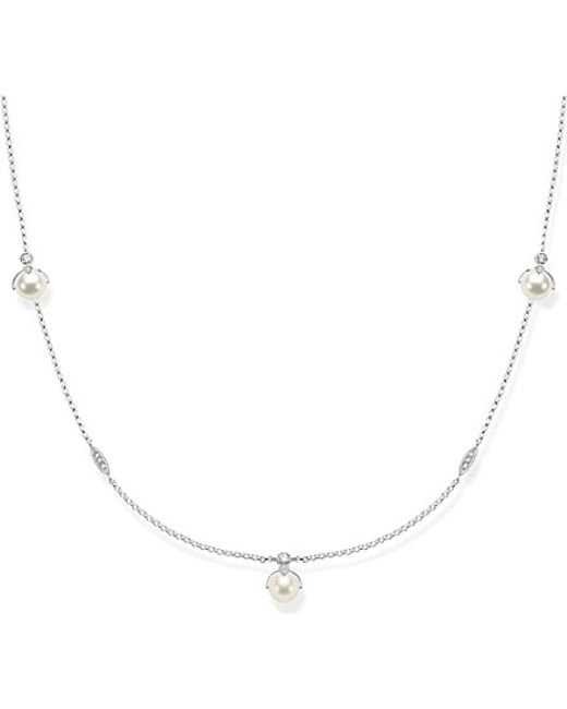 Thomas Sabo | Metallic Long Sterling Silver, White Pavé Zirconia And Pearl Necklace | Lyst