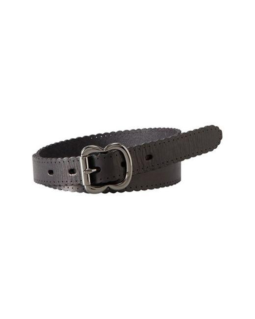 Fossil | Black Scallop Edge Leather Belt | Lyst