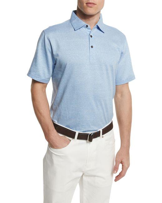 Peter millar linen blend short sleeve polo shirt in blue for Peter millar polo shirts