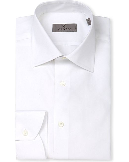 Canali | White Modern-fit Cotton-twill Shirt for Men | Lyst