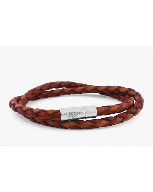 Tateossian | Double Wrap Two-tone Pop Bracelet In Red And Orange Leather With Silver Clasp for Men | Lyst