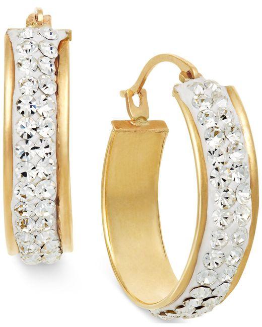 Macy's   Metallic Crystal Hoop Earrings In 10k Gold   Lyst