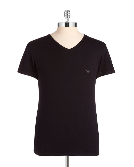 Emporio Armani | Black Graphic V-neck T-shirt for Men | Lyst
