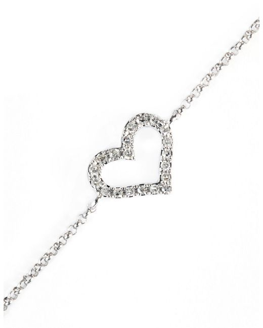 Effy | Metallic Pave Classica Diamond And 14k White Gold Heart Bracelet | Lyst