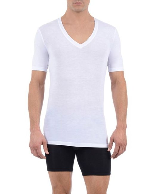 Tommy John | White 'cool Cotton' Deep V-neck Undershirt for Men | Lyst