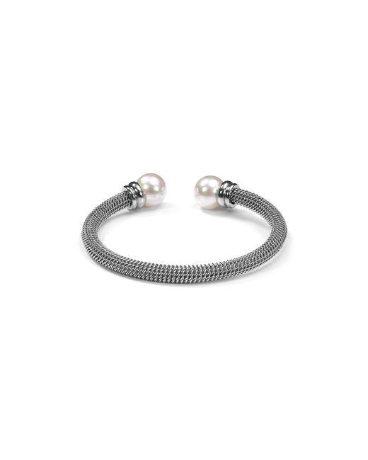 Majorica | White Monochrome Steel Cuff | Lyst