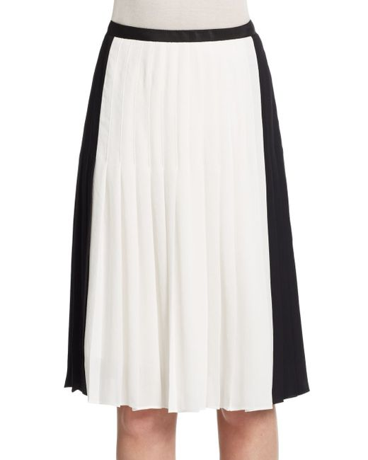 vince two tone pleated skirt in white white lyst