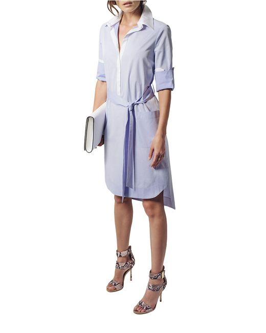 shirtdress belted high low shirt dress in white blue