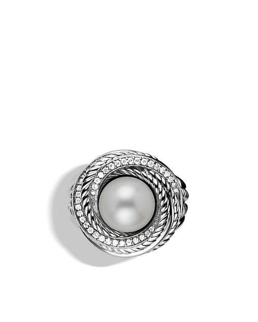 David Yurman | White Crossover Pearl Ring With Diamonds | Lyst