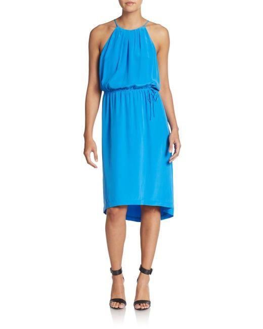 Joie | Blue Florilege Silk Halter Dress | Lyst