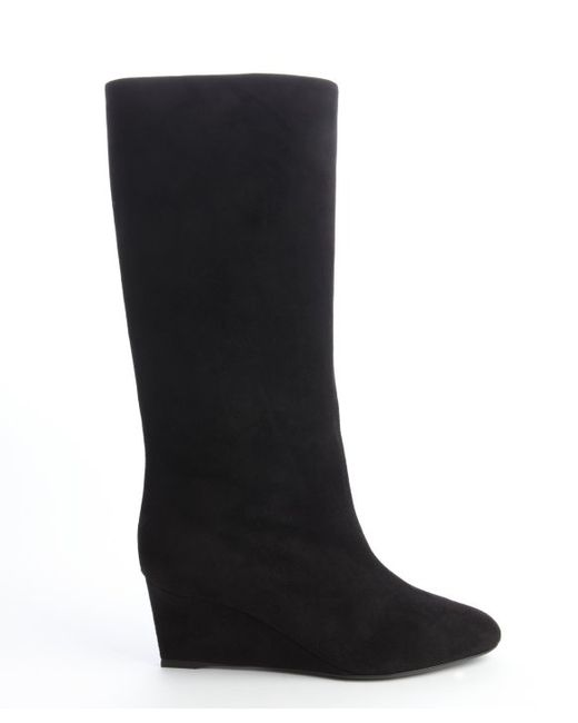 black suede wedge heel boots in black save 55 lyst
