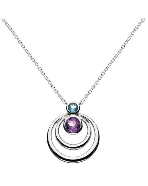 Kit Heath | Metallic Sterling Silver Simmer Double Loop Topaz Pendant Necklace | Lyst