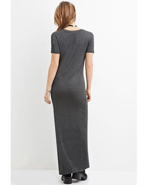 Forever 21 | Gray V-neck Maxi Dress | Lyst