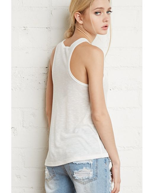 Forever 21 | White Ribbed Knit Racerback Tank | Lyst