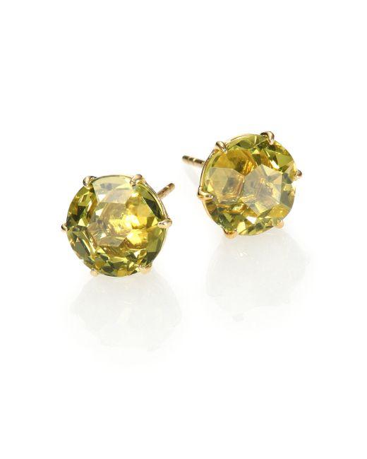 Ippolita | Metallic Rock Candy Green-gold Citrine & 18k Yellow Gold Stud Earrings | Lyst