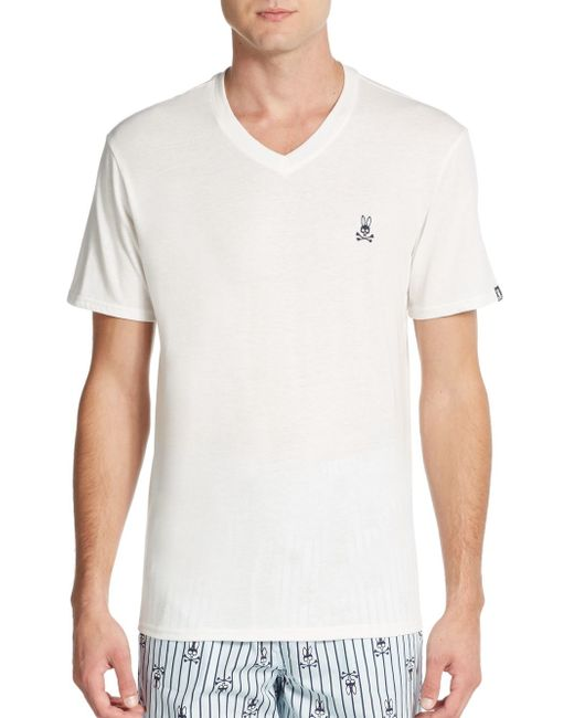 Psycho Bunny | White Heathered V-neck Lounge Tee for Men | Lyst