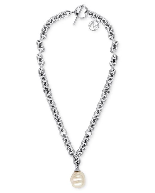 Majorica | Metallic Stainless Steel Chain And Man-made Pearl Pendant Necklace (18mm) | Lyst