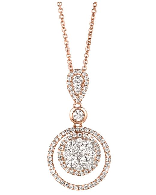 Le Vian | Pink Diamond Diamond Double Circle Pendant (7/8 Ct. T.w.) In 14k Rose Gold | Lyst