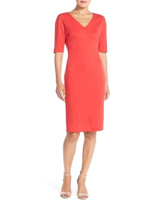 Eliza j V-neck Crepe Sheath Dress in Multicolor (SALSA)   Lyst