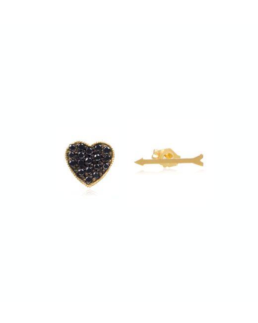 Zoe Chicco   Metallic 14k Gold Arrow and Heart Studs   Lyst