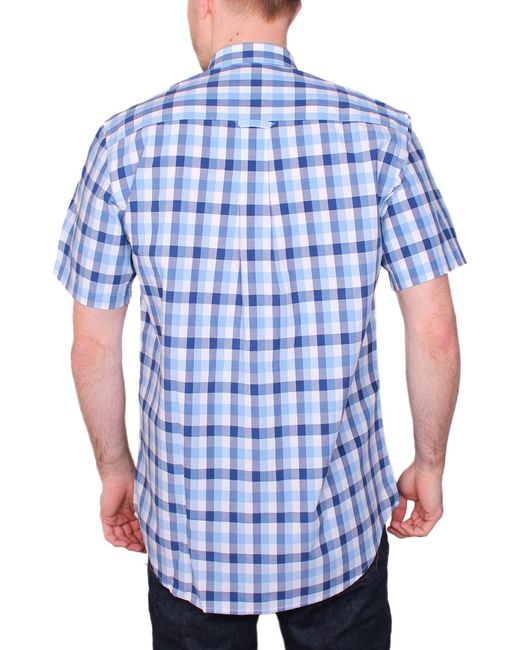 Raging Bull | Blue Voile Check Short Sleeve Button Down Shirt for Men | Lyst