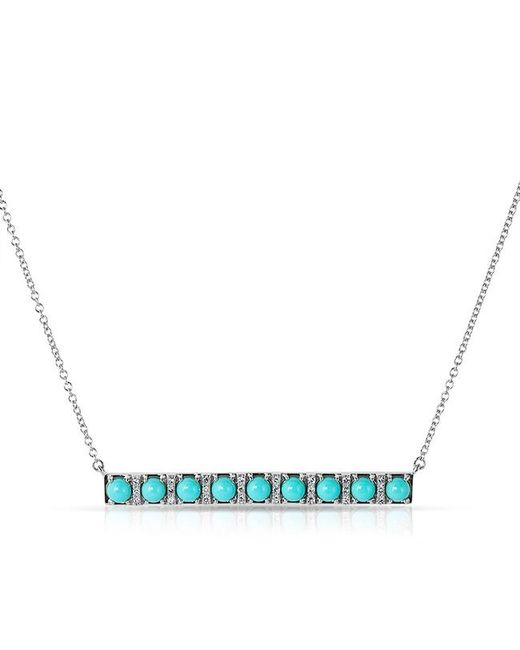 Anne Sisteron | Blue 14kt White Gold Turquoise Diamond Bar Necklace | Lyst