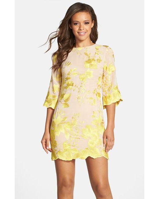 Dress the Population | Yellow Paige Embroidered Chiffon Dress | Lyst