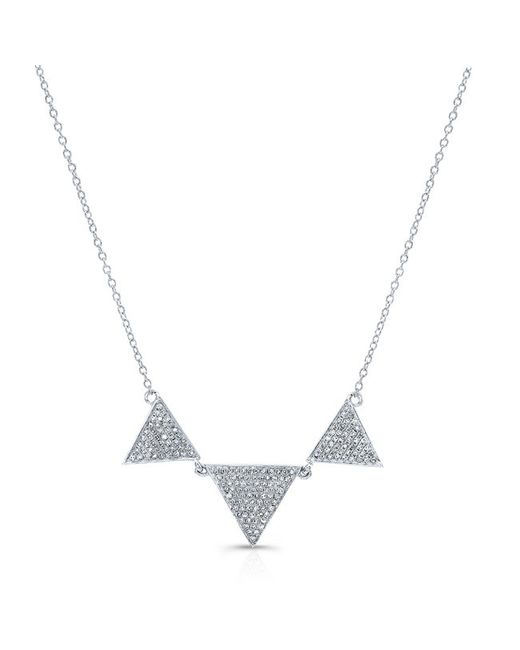 Anne Sisteron | Metallic 14kt White Gold Diamond Triple Triangle Necklace | Lyst