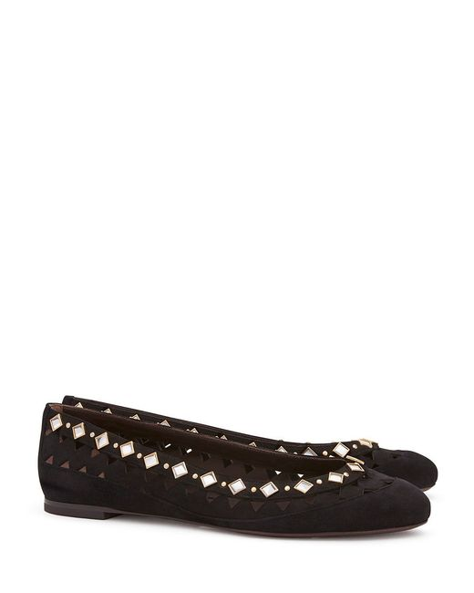 Tory Burch | Black Kingsbridge Suede Ballet Flat | Lyst