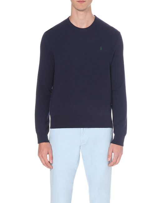 Polo Ralph Lauren | Blue Embroidered-logo Wool Jumper for Men | Lyst