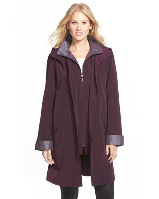 Gallery | Purple Two Tone Long Silk Look Raincoat | Lyst