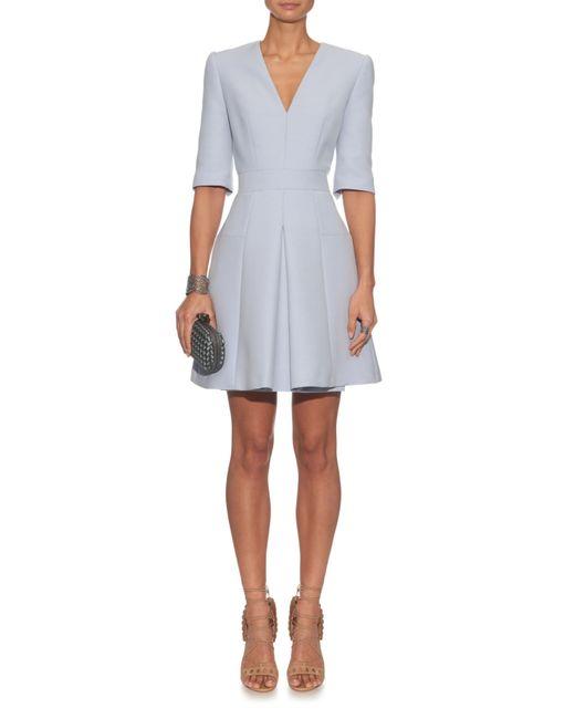 Alexander Mcqueen V Neck Wool And Silk Blend Dress In Blue