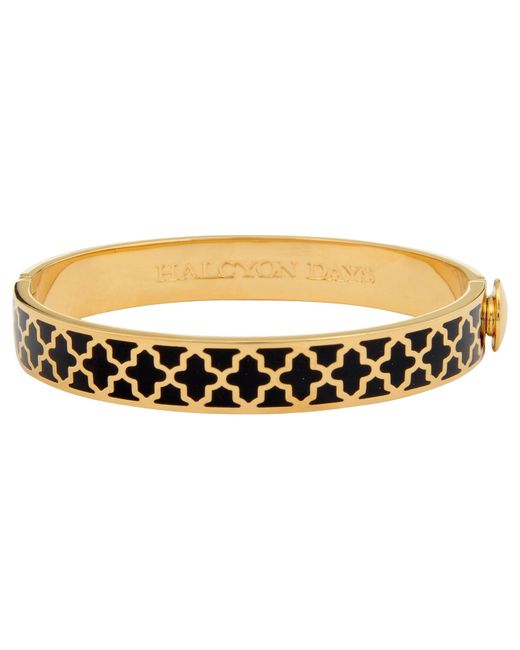 Halcyon Days | Black 18ct Gold Plated Enamel Agama Bangle | Lyst