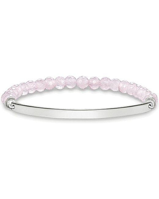 Thomas Sabo | Metallic Love Bridge Sterling Silver And Pink Coral Bracelet | Lyst