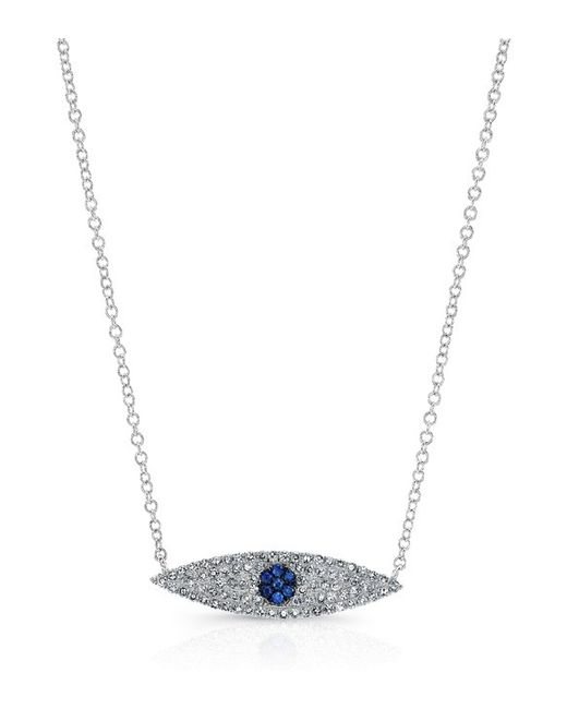 Anne Sisteron - Metallic 14kt White Gold Diamond And Sapphire Evil Eye Necklace - Lyst