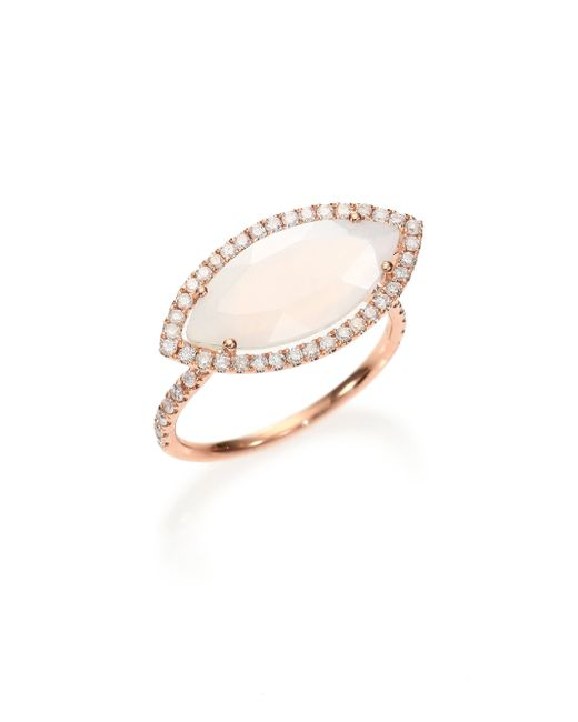 Meira T | Pink Chalcedony, Mother-of-pearl Diamond & 14k Rose Gold Doublet Marquis Ring | Lyst