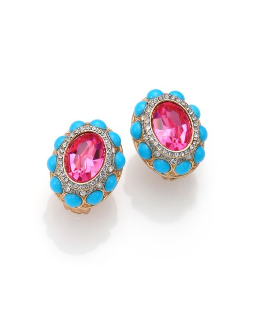 Kenneth Jay Lane | Blue Cabochon Cluster Clip-on Button Earrings | Lyst