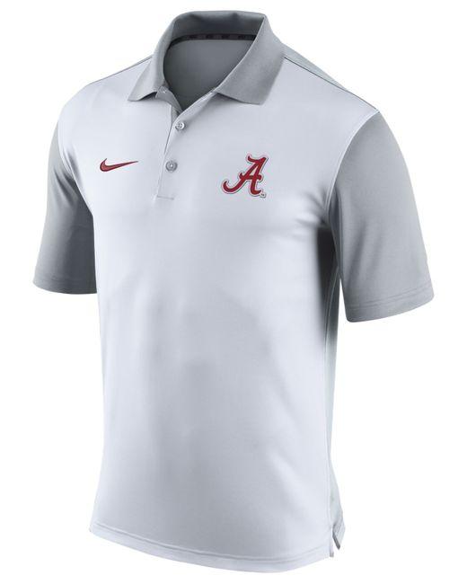 Nike men 39 s alabama crimson tide preseason polo in white for Alabama crimson tide polo shirts