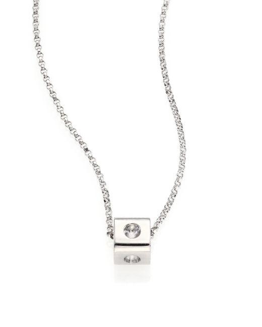 Roberto Coin | Metallic Pois Moi 18k White Gold Mini Cube Pendant Necklace | Lyst