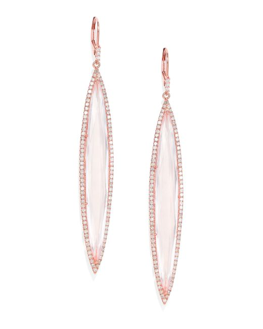 Meira T | Pink Diamond, Rose Quartz & 14k Rose Gold Drop Earrings | Lyst