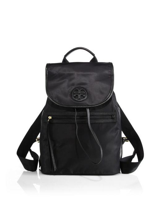 Tory Burch | Black Nylon Flap Backpack | Lyst