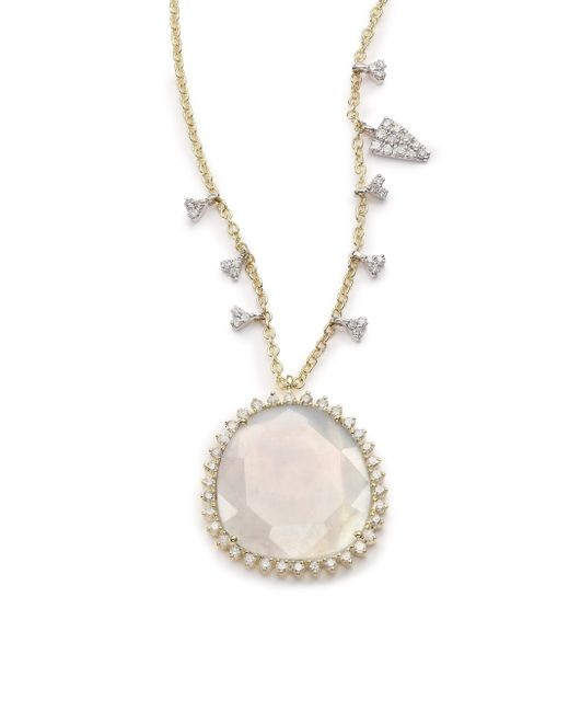 Meira T | Metallic Chalcedony, Mother-of-pearl, Diamond & 14k Yellow Gold Doublet Pendant Necklace | Lyst